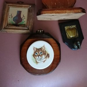 3 vintage wooden wall arts ceramic and sand
